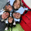 Group of friends on a skiing holiday - Stock Photo