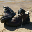 Pair of abandoned hiking boots — Stock Photo