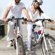 Young couple having a bike ride — Stock Photo #18439911