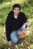 Young man gathering mushrooms — Stock Photo