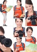 Montage of a hiker with a DSLR camera — Stock Photo