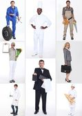 Collage of different occupations — Stockfoto