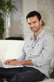 Man about to shop online — Stock Photo