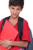 Young boy on his way to school — Stock Photo