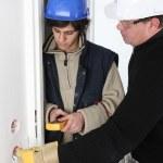 Apprentice electrician — Stock Photo