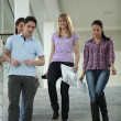 Happy students coming down stairs — Stock Photo