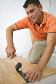 Laying a wooden floor — Stock Photo