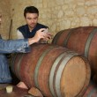 Stock Photo: Two men sampling wine in cellar