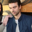 Couple tasting wine Dubroca_Joffrey_140410;Bounie_Audrey_140410 — Stock Photo