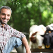 Farmer with cows — Stock Photo