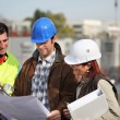 Foreman and two colleagues examining plans — Stock Photo