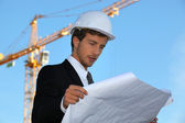 Engineer on a construction site — Stock Photo