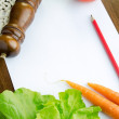 Blank paper and fresh vegetables — Stock Photo