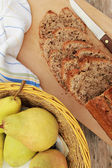 Pears and bread — Stock Photo