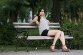 Relaxing on the bench — Stock Photo