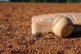Baseball near First Base — Stock Photo