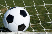 Soccer Ball in the Goal — Stock Photo