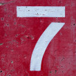 Stock Photo: Number Seven on Painted Cement