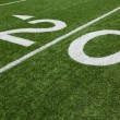 Stock Photo: AmericFootball Field Twenty Yard Line