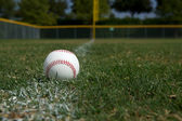 Baseball on the Chalk Line — Stock Photo