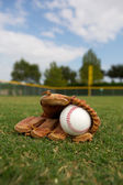 Baseball and Glove in the Outfield — Stock Photo