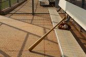 Baseball & Bat in the Dugout — Stock Photo