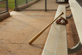 Basebal in the Dugout — Stock Photo