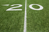 American Football Twenty Yard Line — Stockfoto