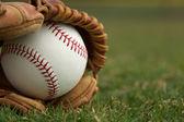 новые бейсбол в перчатке — Стоковое фото