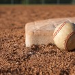 Baseball near the base — Stock Photo