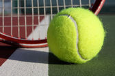 Tennis Ball and Racket — Stok fotoğraf