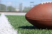 Football close up near the yard line — Stock Photo