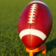 Stock Photo: AmericFootball teed up for kickoff
