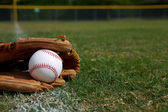 Baseball in a Glove along the Outfield — Stock Photo