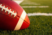 American Football on the Field Close Up — Stock Photo