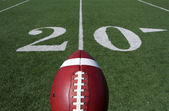 American Football with the Twenty Yard Line Beyond — Stock Photo