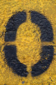 Number Zero on Painted Asphalt — Stock Photo