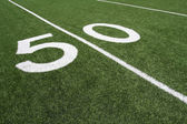 American Football Field Fifty Yard Line — Stock Photo