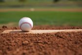 Baseball on the pitchers mound — Stock Photo