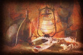 Grunge image of Pirate still life of wine, hats, ropes, sinks, f — Stock Photo
