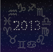 Zodiac signs in the starry sky, 2013 — Stock Vector