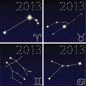 The constellation Aries, Taurus, Gemini, Cancer, 2013 — Stock Vector