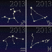 The constellation of capricorn, aquarius, sagittarius, pisces 2 — Cтоковый вектор