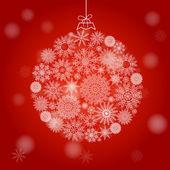 Palla di natale fatta di fiocchi di neve su sfondo rosso — Vettoriale Stock