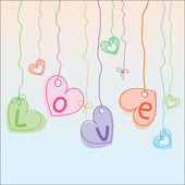 Hearts hanging on strings — Stock Vector