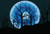 Night landscape: trees and the moon — Stock Vector