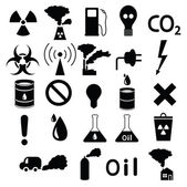 Set of icons: pollution, industrial, hazardous — Stock Vector