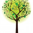 Stock Vector: Green tree with ecological icons