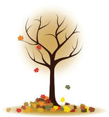 Autumn tree with falling leaves, maple leaves — Stock Vector