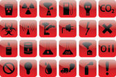 Set of icons pollution RED — Stock Vector
